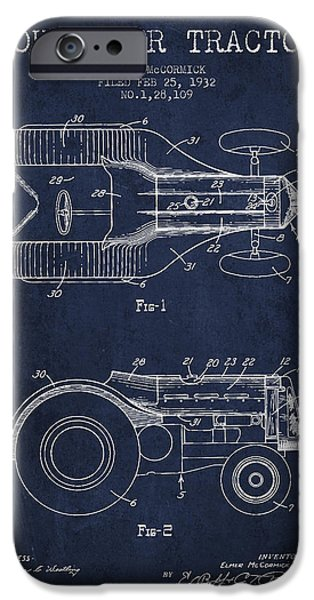 Tractor iPhone Cases - John Deer Tractor Patent drawing from 1932 - Navy Blue iPhone Case by Aged Pixel
