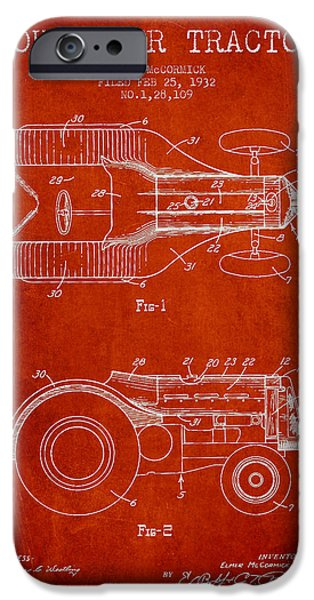 Tractors iPhone Cases - John Deer Tractor Patent drawing from 1932 - Red iPhone Case by Aged Pixel