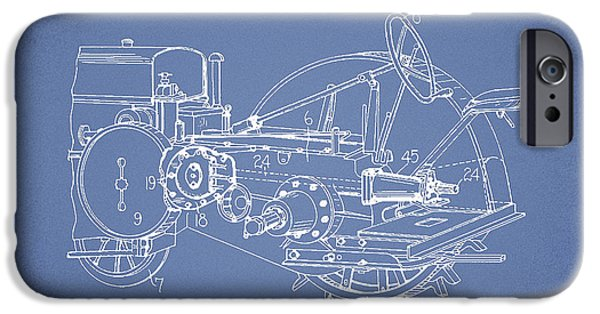 Tractors iPhone Cases - John Deer Tractor Patent drawing from 1933 - Light Blue iPhone Case by Aged Pixel