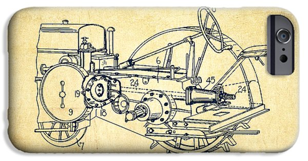 Tractors iPhone Cases - John Deer Tractor Patent drawing from 1933 - Vintage iPhone Case by Aged Pixel