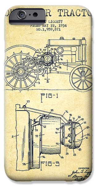 John Deer Tractor Patent drawing from 1934 - Vintage iPhone Case by Aged Pixel