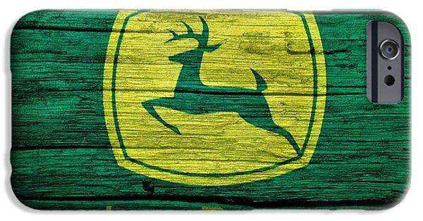 Farm Mixed Media iPhone Cases - John Deere Barn Door iPhone Case by Dan Sproul
