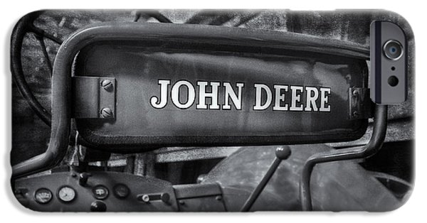 Enterprise Photographs iPhone Cases - John Deere Tractor BW iPhone Case by Susan Candelario
