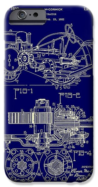 Farmer Drawings iPhone Cases - John Deere Tractor Patent 1933 iPhone Case by Mountain Dreams