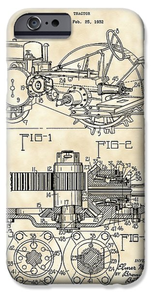 Mower iPhone Cases - John Deere Tractor Patent 1932 - Vintage iPhone Case by Stephen Younts