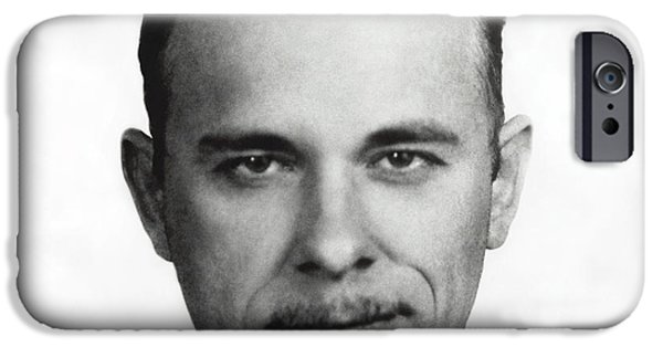 Well Dressed iPhone Cases - John Dillinger Mugshot iPhone Case by Daniel Hagerman