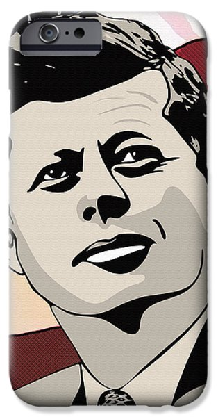 4th July Drawings iPhone Cases - John F. Kennedy 1st Irish Catholic President  iPhone Case by Dancin Artworks