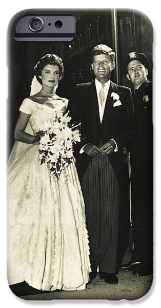 Recently Sold -  - Politician iPhone Cases - John F Kennedy and Jacqueline on Wedding Day iPhone Case by Audreen Gieger-Hawkins