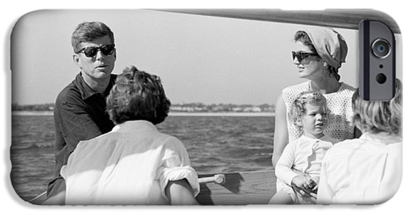 Cape Cod iPhone Cases - John F. Kennedy and Jacqueline sailing off Hyannis Port iPhone Case by The Phillip Harrington Collection
