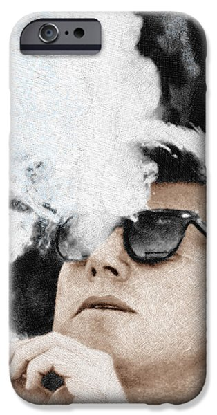 Decorating Mixed Media iPhone Cases - John F Kennedy Cigar and Sunglasses iPhone Case by Tony Rubino