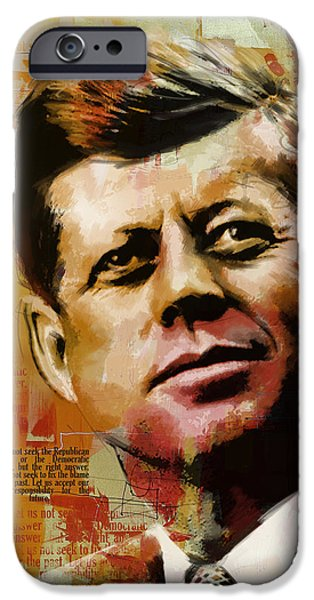 U.s Heroes iPhone Cases - John F. Kennedy iPhone Case by Corporate Art Task Force