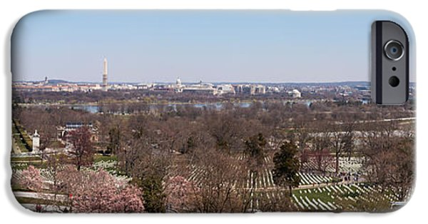 Cherry Blossoms iPhone Cases - John F. Kennedy Gravestones iPhone Case by Panoramic Images