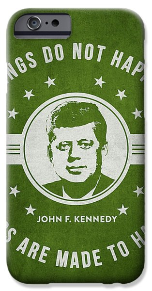 President iPhone Cases - John F Kennedy - Green iPhone Case by Aged Pixel
