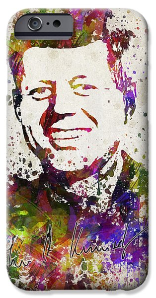 Politician iPhone Cases - John F Kennedy in Color iPhone Case by Aged Pixel