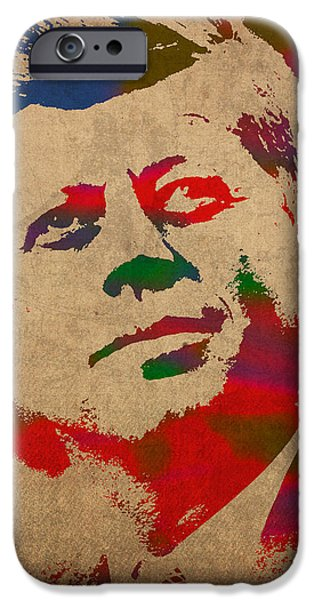 President iPhone Cases - John F Kennedy JFK Watercolor Portrait on Worn Distressed Canvas iPhone Case by Design Turnpike