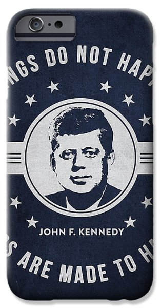 President iPhone Cases - John F Kennedy - Navy Blue iPhone Case by Aged Pixel