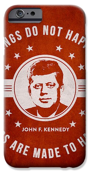 President iPhone Cases - John F Kennedy - Red iPhone Case by Aged Pixel