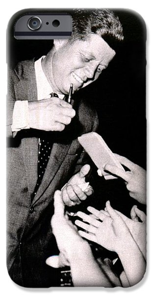 Autographed Digital Art iPhone Cases - John F Kennedy Signing Autographs iPhone Case by Audreen Gieger-Hawkins