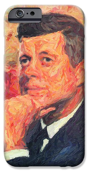 Presidential Elections iPhone Cases - John F Kennedy iPhone Case by Taylan Soyturk