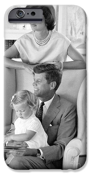 First Lady iPhone Cases - John F. Kennedy with Jacqueline and Caroline 1959 iPhone Case by The Phillip Harrington Collection