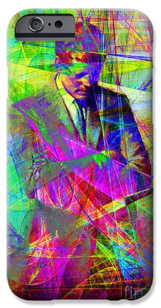 Wing Tong Digital iPhone Cases - John Fitzgerald Kennedy JFK In Abstract 20130610 iPhone Case by Wingsdomain Art and Photography
