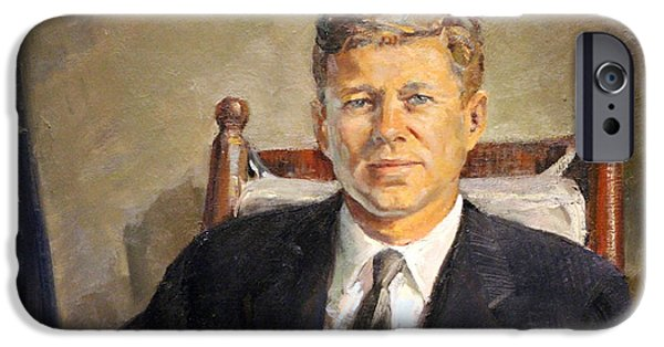D.c. iPhone Cases - John Fitzgerald Kennedy Up Close iPhone Case by Cora Wandel