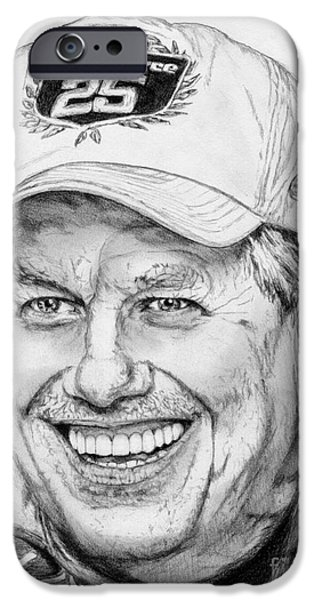 Owner Drawings iPhone Cases - John Force in 2010 iPhone Case by J McCombie