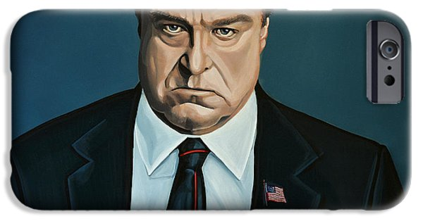 Close Paintings iPhone Cases - John Goodman iPhone Case by Paul Meijering
