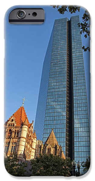 Massachusetts Autumn Scenes iPhone Cases - John Hancock and Trinity Church iPhone Case by Joann Vitali