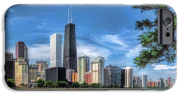 Hancock Building iPhone Cases - John Hancock Chicago Skyline Panorama iPhone Case by Christopher Arndt