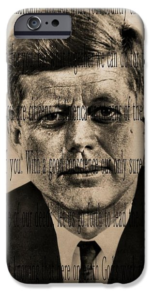 Inauguration iPhone Cases - John Kennedy iPhone Case by Dan Sproul