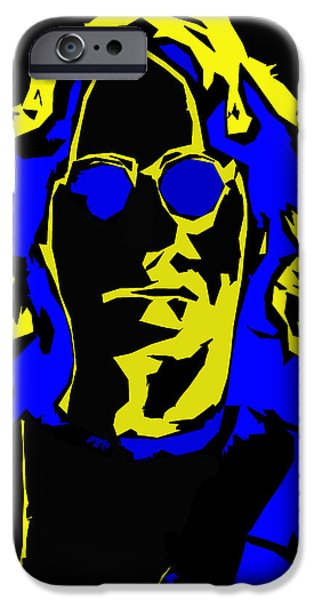 Beatles iPhone Cases - John Lennon Abstract  iPhone Case by Stefan Kuhn