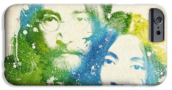 Rocks Drawings iPhone Cases - John Lennon and yoko ono iPhone Case by Aged Pixel