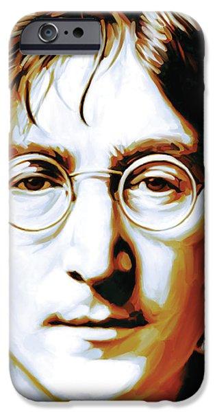 Beatles iPhone Cases - John Lennon Artwork iPhone Case by Sheraz A