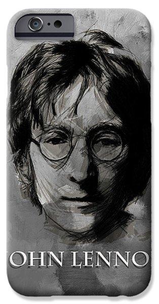 Beatles iPhone Cases - John Lennon BW iPhone Case by Stefan Kuhn
