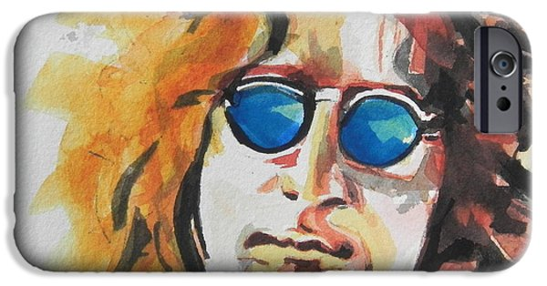 Blue Abstracts iPhone Cases - John Lennon 03 iPhone Case by Chrisann Ellis