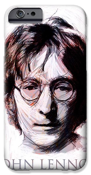 Musican Drawings iPhone Cases - John Lennon Color iPhone Case by Stefan Kuhn
