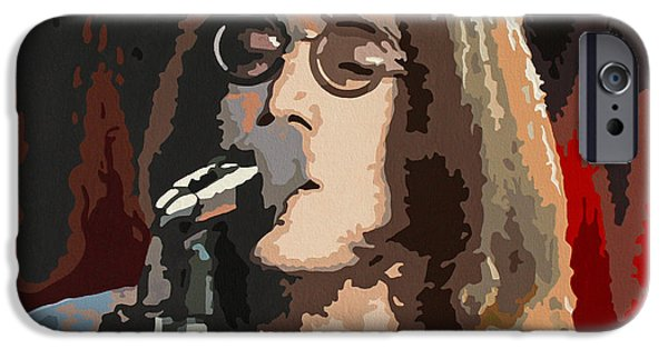 Elton John Paintings iPhone Cases - John Lennon iPhone Case by Dennis Nadeau