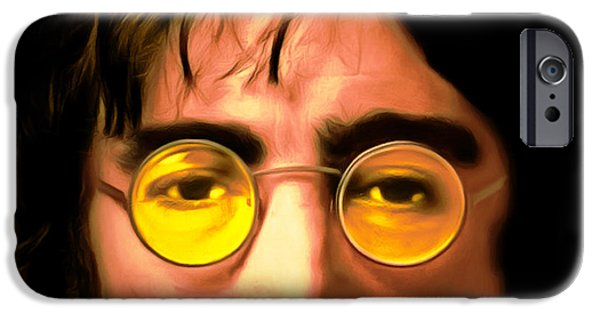 Beatles iPhone Cases - John Lennon Imagine 20150305 square iPhone Case by Wingsdomain Art and Photography