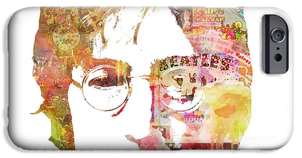Painted Mixed Media iPhone Cases - John Lennon iPhone Case by Mike Maher