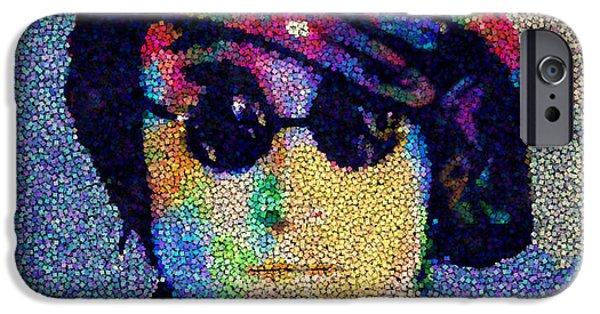 Beatles iPhone Cases - John Lennon Mosaic iPhone Case by Jack Zulli