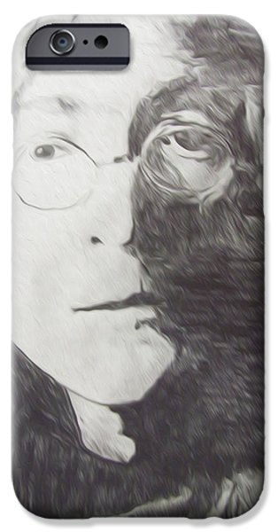 Abstract Digital Drawings iPhone Cases - John Lennon Pencil iPhone Case by Jimi Bush