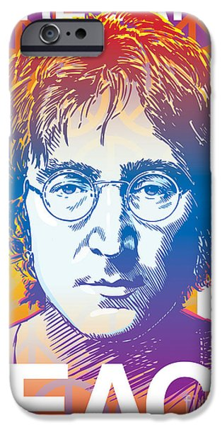 Piano Drawings iPhone Cases - John Lennon Pop Art iPhone Case by Jim Zahniser
