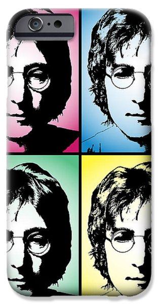 Beatles iPhone Cases - John Lennon Pop Art Panel iPhone Case by Daniel Hagerman