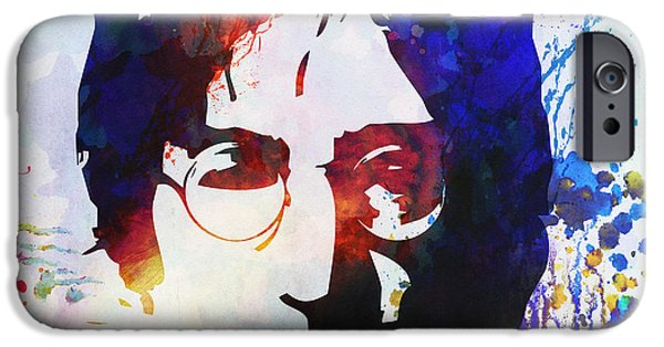 Celebrities Portrait iPhone Cases - John Lennon stencil portrait iPhone Case by Pixel Chimp