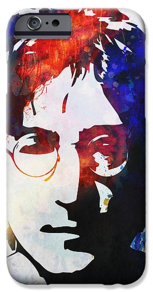 John Lennon stencil portrait iPhone Case by Pixel Chimp