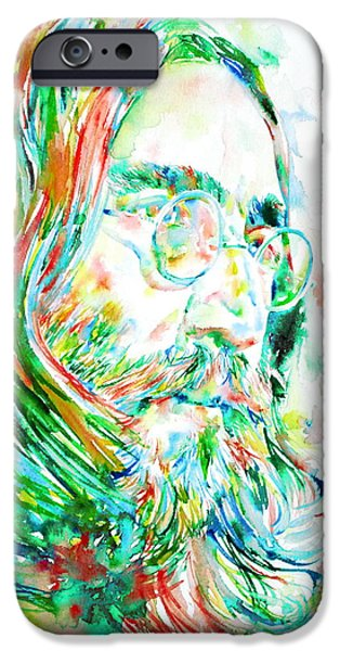 Beatles iPhone Cases - John Lennon Watercolor Portrait iPhone Case by Fabrizio Cassetta
