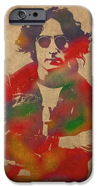 John Lennon iPhone Cases - John Lennon Watercolor Portrait on Worn Distressed Canvas iPhone Case by Design Turnpike