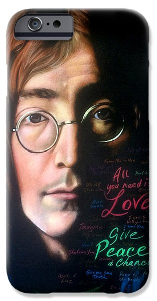 Montage Drawings iPhone Cases - John Lennon - Wordsmith iPhone Case by Robert Korhonen
