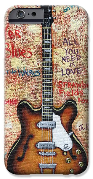 Epiphone Guitar iPhone Cases - John Lennons Casino iPhone Case by Arturo Vilmenay